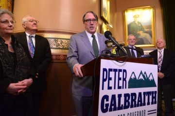 via VT Press Bureau - Stefan Hard Peter Galbraith announces his candidacy for governor Tuesday in the Cedar Creek Room of the State House in Montpelier.