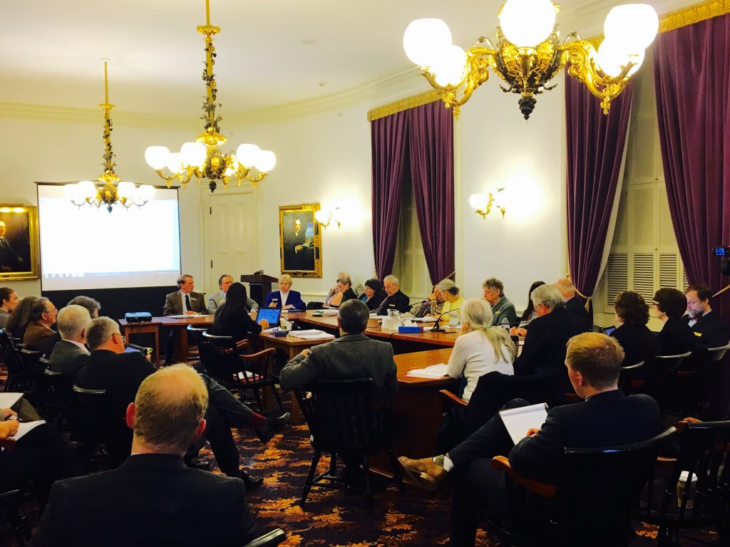 Members of the House Judiciary Committee, Government Operations Committee, and other individual representatives discuss the existing 241 marijuana legalization bill provisions with a member of the Legislative Counsel in Montpelier, Vermont on Wednesday, March 16, 2016. By Eli Harrington for Heady Vermont.