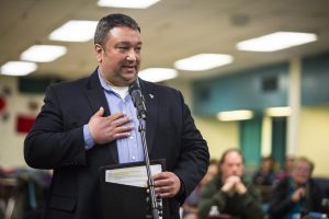 """""""Come spend a day in our shoes,"""" said Jason Ziter, an Essex Rescue volunteer, speaking out against marijuana legalization during a community forum at Essex High School in Essex Junction, Vermont on Wednesday, March 2, 2016. By Monica Donovan for Heady Vermont"""