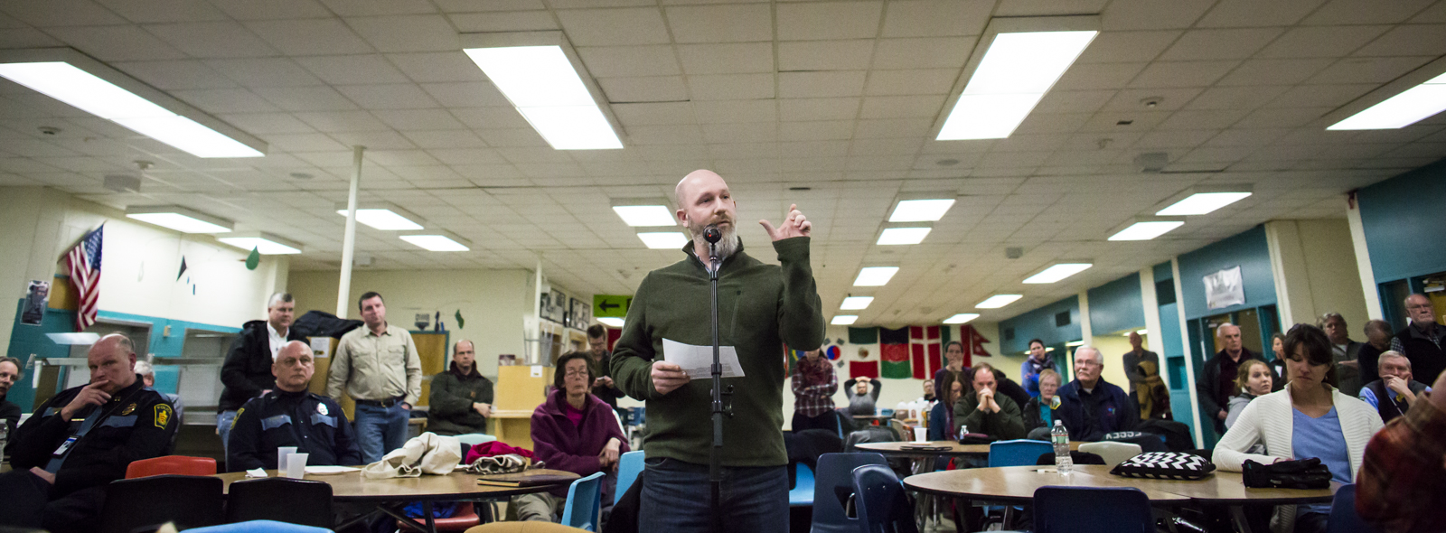 """Michael Versluys, an Essex Junction resident, speaks in favor of marijuana legalization during a community forum at Essex High School in Essex Junction, Vermont on Wednesday, March 2, 2016. """"For me, marijuana is a social justice issue,"""" Versluys, a father of three, said. By Monica Donovan for Heady Vermont"""