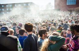 Students light up at the University of Vermont Redstone campus in Burlington in commemoration of the iconic pot smoker's holiday on Wednesday, April 20 2016 at 4:20 p.m. by Monica Donovan for Heady Vermont