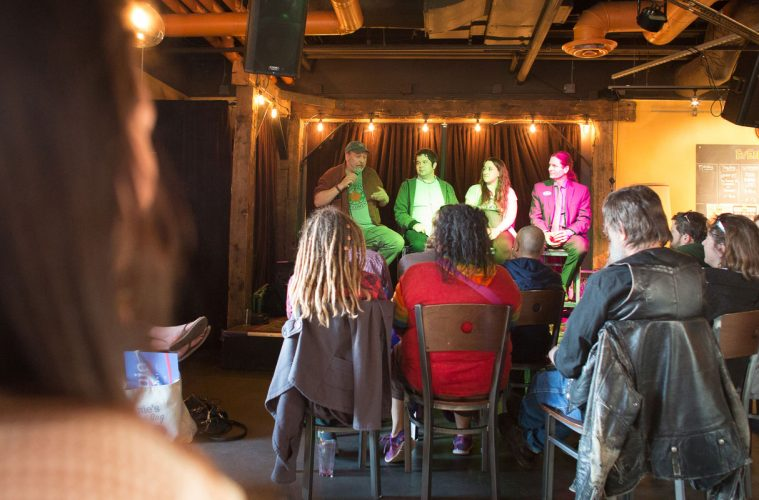 Joel Bedard speaks at the first Heady Vermont cannabis event at the Skinny Pancake in Burlington.