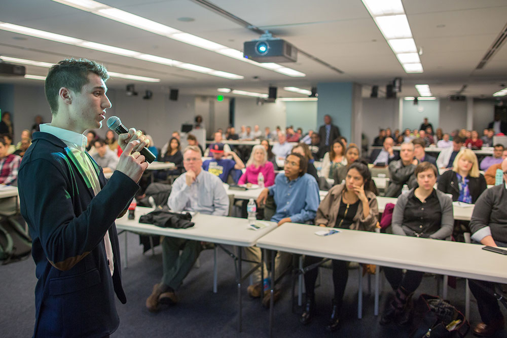 Entrepreneur Joe Khoury presents his iRollie product for investor consideration during #StartupHigh at NERD New England Research and Development Center in Cambridge, Massachusetts on Friday, March 18 2016. Photo by Marijuana Macros.