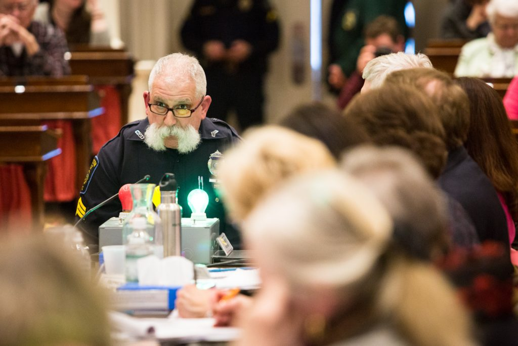 Jim Roy of the Colchester Police Department speaks against cannabis regulation at the Montpelier Statehouse public hearings on S.241 on Thursday, March 31 2016. by Monica Donovan for Heady Vermont.