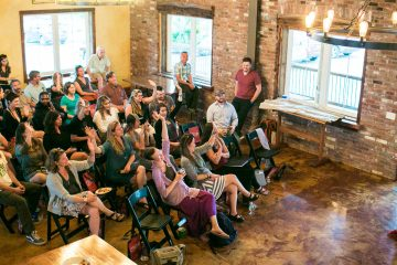 Women Grow founding member Maureen McNamara speaks at the Women Grow Networking Event at the Lang Barn in Essex Junction, Vermont on Thursday, June 2 2016. by Monica Donovan for Heady Vermont.