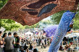 Tapestries flutter on a hazy breeze as 4:20 nears at the Freedom Rally in Boston Common on Saturday, September 17, 2006 in Boston, Massachusetts. By Judd Lamphere for Heady Vermont.