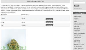 "Description and Prices of ""CBD Critical Mass"", a strain sold by Champlain Valley Dispensary"