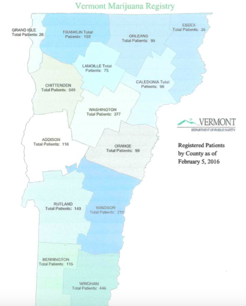 Vermont Marijuana Registry Patients By County as of February, 2016