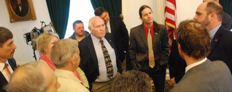 During a recess, senators discuss procedure related to a motion to attach a marijuana legalization amendment to H.167. Photo by Elizabeth Hewitt/VTDigger
