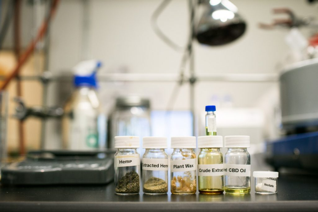 Samples of cannabis hemp extracts on the counter of the testing lab at the Phytoscience Institute in Waterbury, Vermon on Thursday, August 17, 2017. by Monica Donovan for Heady Vermont.