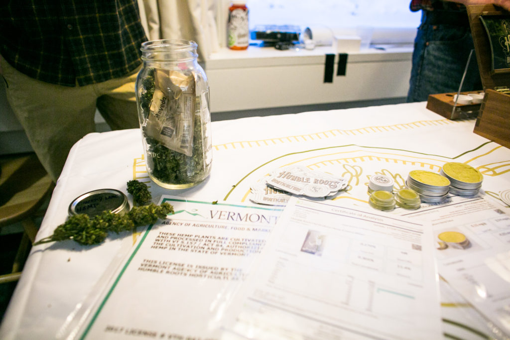 Hemp and salves from Humble Roots Horticulture on display at an Education Fair during Cannabis in the Capitol at the Vermont State House cafeteria on Tuesday, January 9. Photo by Monica Donovan for Heady Vermont